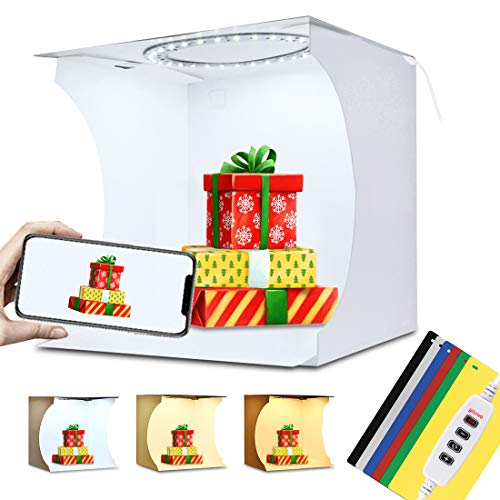 PULUZ - Caja de luz LED de 20 cm con 3 Modos Regulables para Estudio fotográfico, Estudio de fotografía, Estudio de fotografía y Tienda de campaña y 6 Fondos de Colores