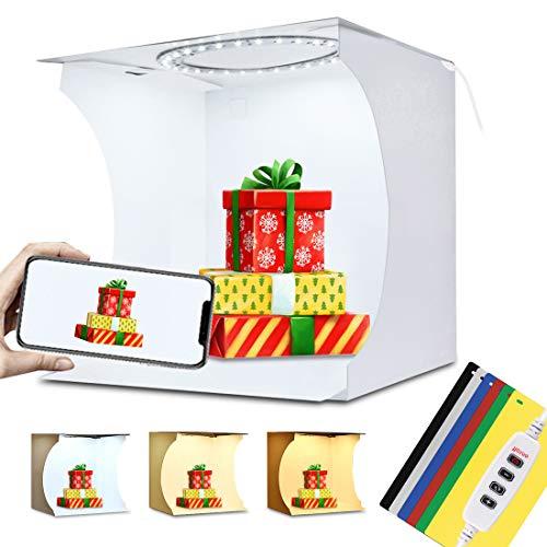 PULUZ Upgrade 20 cm Mini 3 Modi dimmbar LED Ring Licht Box Lichtbox Fotostudio Box Fotografie Licht Studio Schießen Zelt Box Kit & 6 Farben Hintergründe