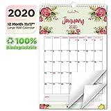 EcoEarth Biodegradable 11x17 Inch Vertical Hanging Wall Calendar, 2020 Calendar Year Monthly Calendar, Blossoms Art Design