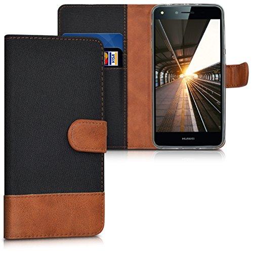 kwmobile Hülle kompatibel mit Huawei Y6 II Compact (2016) - Kunstleder Wallet Case mit Kartenfächern Stand in Schwarz Braun