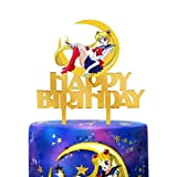 LILIPARTY Gold Acrylic Sailor Moon Happy Birthday Cake Topper Pretty Guardian Theme Birthday Party Decoration Suppliers