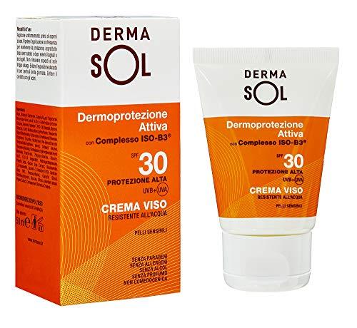 Dermasol Crema Solare Viso Protezione Alta, SPF 30 con Estratti di Fiori d Arancio - 50 ML