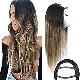 Sunny U Part Wig Ombre 18 inch Human Hair U Part Wig Ombre Black to Dark Brown Mixed Caramel Blonde Clip in U Part Half Wig Ombre Balayage 120g