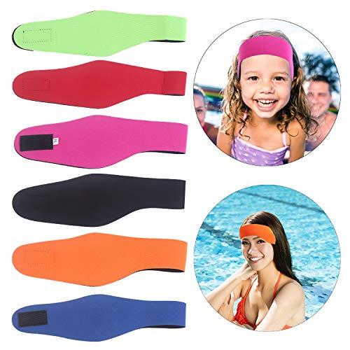 WWmily 6 Stück Schwimm-Stirnband, verstellbar, Surfen, hält Wasser draußen und hält Ohrstöpsel für Babys, Kleinkinder, Kinder, Erwachsene (L)