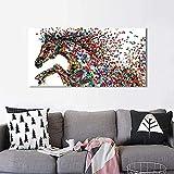 WZRY Cuadro exótico – Póster de caballo colorido para habitación de niña – Cuadro Pop Art Animales Home Decor – sin marco (B,70 x 100 cm – 27,6 x 43,3 inch))