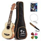 Donner Soprano Ukulele Mahogany DUS-3 21 inch with Ukulele Set Strap Nylon String