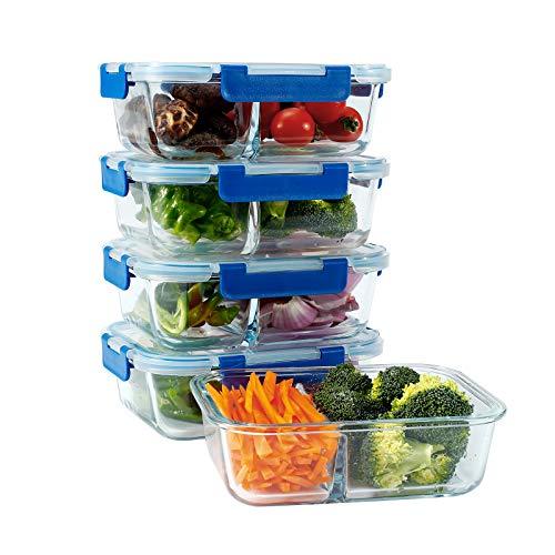 N / A LoveInLunchBox - Recipientes de cristal para almacenamiento de alimentos con tapa de cierre a presión para microondas, horno, congelador y lavavajillas (40 onzas, 5 unidades)