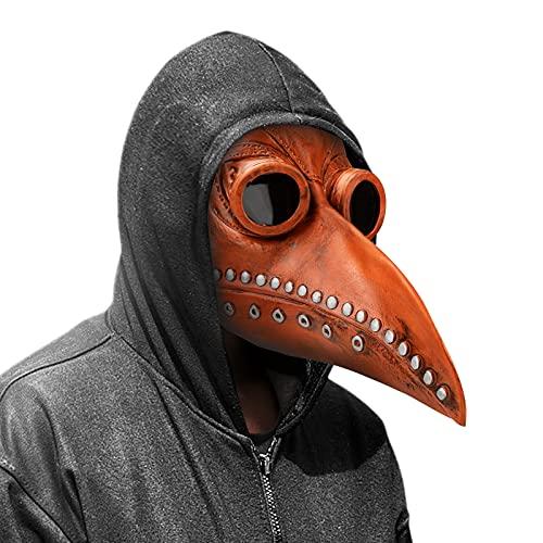 Achort Mscara de Pjaro de la Plaga Doctor, Cosplay Doctor de la Peste Mscara Accesorios de Halloween Mscara de Cuervo Peste Gtico Nariz Larga Mscaras Steampunk Mscara (Marrn)
