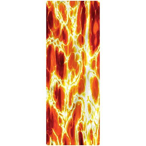 Burnt Orange Runner Rug, 1.3'x4', Hot Burning Lava Fire Kitchen Rugs Non Skid Area Floor Mat for Hallway Entry Way Floor Carpet