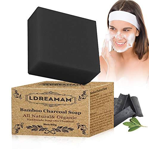 Jabón Exfoliante,Jabones faciales,Jabón de hecho a mano,Jabón Carbón de bambú,Hecho a Mano con Ingredientes Naturales,Minimiza Poros, Trata Acné, Espinillas, Manchas y Piel Grasa