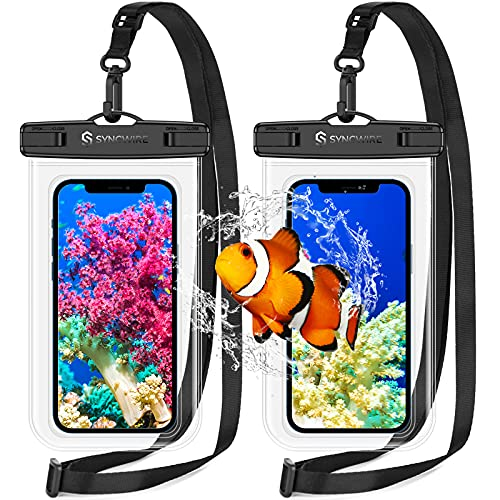 Syncwire Funda Impermeable Móvil Universal [IPX8] 2 Unidades Bolsa Impermeable Móvil, 7.0 Pulgadas Funda Movil Agua para iPhone 12Pro Max/11/XR,Xiaomi Note 10/9/8 Redmi 9 Galaxy S21/S20/S10/S9