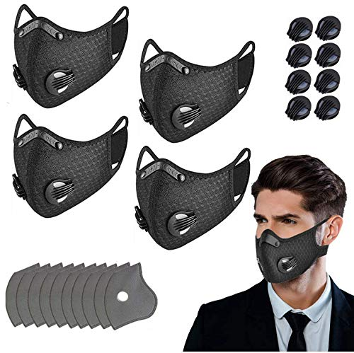 Reusable Sports Dust Mouth Cover with 10 Filters 8 exhaust valves, Adjustable and Washable (black-4Pcs)
