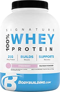 Bodybuilding Signature 100% Whey Protein Powder | 25g of Protein per Serving | Strawberry, 5 lbs