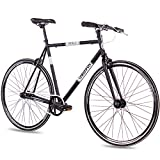 CHRISSON 28 Zoll Vintage Fixie Singlespeed Retro Fahrrad FG Flat 1.0 schwarz 56 cm - Urban Old...