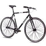 Chrisson, bicicletta vintage Fixie Singlespeed Retro FG Flat 1.0 nero 59 cm – Urban Old School Fixed Gear Bike per uomo e donna