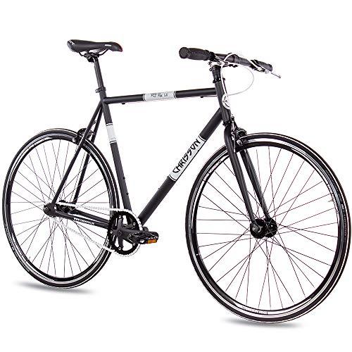 CHRISSON 28 Zoll Vintage Fixie Singlespeed Retro Fahrrad FG Flat 1.0 schwarz 59 cm - Urban Old School Fixed Gear Bike für Damen und Herren