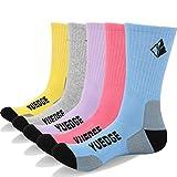 YUEDGE 5 Pares Mujer Senderismo Calcetines para Trekking Camping Ciclismo Tenis y Otros Deportes, Transpirable (L)