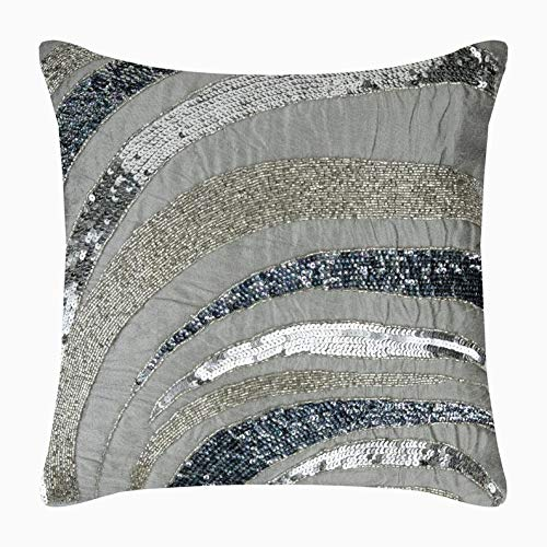 Review Of Decorative Gray European Pillow Shams 26x26 inch (65x65 cm), Silk Euro Sham Covers, Abstra...