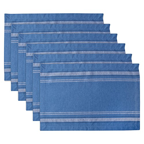 DII 100% Cotton Everyday French Stripe Tabletop Collection, Placemat Set, Blue Chambray 6 Count