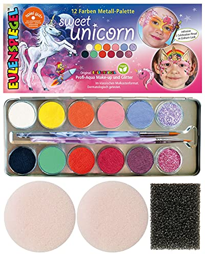 Eulenspiegel 212264 - Schminkpalette Sweet Unicorn, vegan, Einhorn, Schminkset, Kinderschminken, Karneval, Fasching