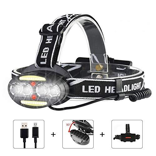 iToncs LED Stirnlampe USB Wiederaufladbar mit 7 Modus, Wasserdicht Leichtgewichts 90 ° Drehbare Kopflampe für Campen Fischen Jogge