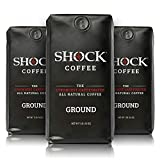 Shock Coffee Ground, The Strongest Caffeinated All-Natural Coffee. Up to 50% more Caffeine. 3 pounds