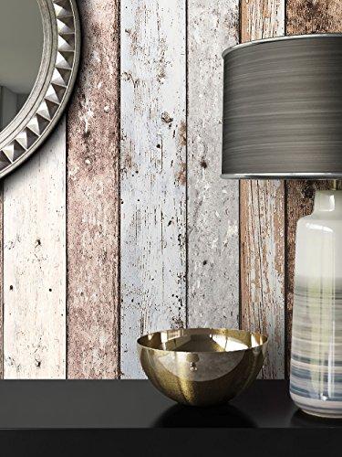 Holz-Muster-Tapete Vlies Blau Beige Edel | schöne edle Tapete im Holzwand-Design | moderne 3D Optik für Wohnzimmer, Schlafzimmer oder Küche inkl. Newroom-Tapezier-Profibroschüre mit super Tipps!
