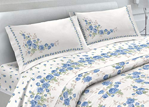 BIANCHERIAWEB Completo Lenzuola in 100% Cotone Fantasia Cloe Matrimoniale Azzurro