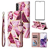 Asuwish Compatible with Samsung Galaxy S21 Plus Glaxay S21+ 5G Wallet Case Tempered Glass Screen Protector Flip Card Holder Stand Cell Phone Cases for Gaxaly S21+5G S21plus 21S + S 21 21+ G5 Purple