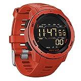 ZJM Reloj Digital para Hombre, 50M Impermeable Reloj Deportivo LED Reloj De Pulsera Militar con El Podómetro/Cronómetro/Calorías/Automático/Calendario, Hombres Mujeres,Rojo