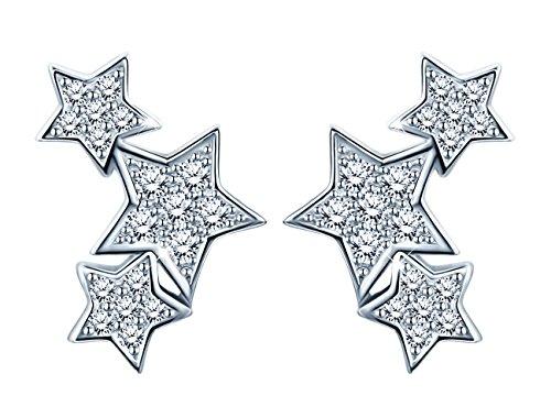 Pendientes Mujer SIXLUO Arete de Plata de Ley 925 3 Estrellas con Caja de Regalo y Tarjeta de Felicitación