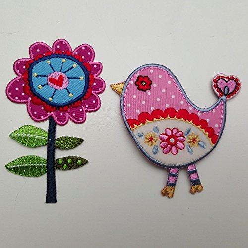 Blume Stiel 7X11cm Vogel Rosa 9X9cm flicken Patch Kleider Aufnäher Aufnäher zum Aufbügeln auf Jeans Rock Hosen Kleider Kappe Hut Jacke Schal Halstuch Decke Rucksack Tasche Turnsack Fahne Wimpel Türsc