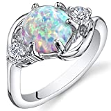 Peora Created White Opal Ring in Sterling Silver, Round Shape, 8mm, 1.75 Carats total, Size 7