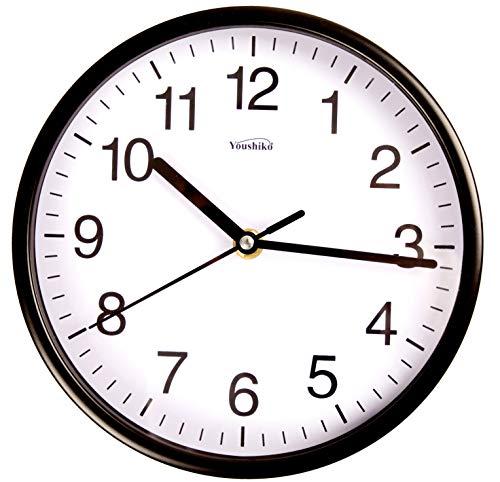 Youshiko - Reloj de pared de cuarzo clásico con estilo negro y blanco y negrita (20 cm de diámetro), reloj de casa, cocina, oficina, escuela, fácil de leer