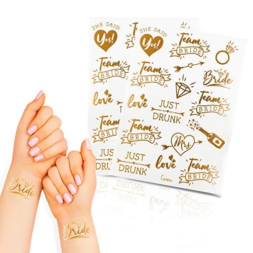 Cavore – 32 JGA Tattoos in Gold metallic – Team Bride – Deko Accessoires für Junggesellinnenabschied und Hochzeit