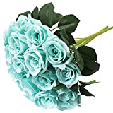 Vitalili 2 Bunches of Artificial Tiffany Blue Roses Flowers Bouquets 12 Heads Fake Silk Turquoise Flowers for Tiffany Blue Decor Turquoise Party Decoration Rose Flower Arrangement Event Gift