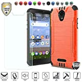 MyFavCell Compatible for Alcatel Insight Case, Alcatel TCL A1 4G Case 5' A501DL Case, with [Tempered Glass Screen Protector], Premium Metallic Brushed Hybrid [Shock Proof] Cover Case (Orange)