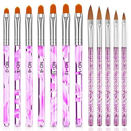 Pincel Acrilico Uñas, 7pcs Pincel Uñas de gel UV + 5pcs Pinceles Uñas, Pincel de Gel UV Cepillo de Uñas Pluma Pintauña para Decoración de uñas