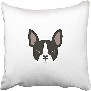 Throw Pillow Cover 18X18 Inch Polyester Black Frenchie French Bulldog Head White Face Animal Brawny Breed Canine Cartoon Character Decorative Pillowcase Two Sides Square Print for Home
