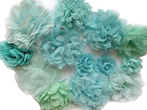 YYCRAFT 12 x Chiffon-Haarblumen für Mädchen, Minzgrün / Aqua, mit Spitze, Haarband, Baby-Blumen, Schleifen, Basteln, Party-Dekoration (5,1 cm - 11,4 cm)