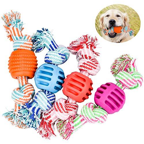 DESON 4 Stück Hundespielzeug Ball am Seil Kauspielzeug Doppelknoten Baumwollseil Interaktiv Spielzeug Hundezähne Reinigung