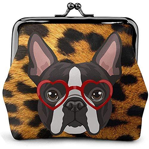 Boston Terrier Hund Hipster Brille Leder Münzgeldbeutel Schloss Wechselbeutel Vintage Verschluss Verschluss Schnalle Wallet-2H