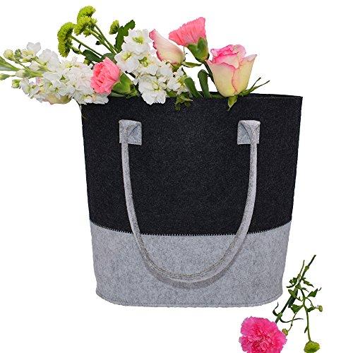 AiYoYo Filztasche Einkaufstaschen Stoff Shopper Groß Damen Filz Handtaschen mit Natürlich Filzwolle Geruchsneutral Filztaschen Leicht und Stabil Damentasche für Täglichen Einkauf 34cm x32cm x17cm