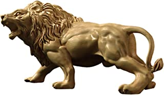 CarpenterC Large Handmade Boxwood Sculpture Statue, Strong and Muscular Roaring Lion, for Home Office and Cars Decoration