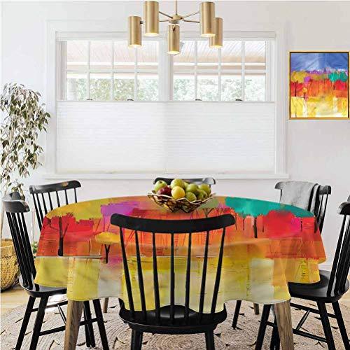 Ronde tafelkleed, Salontafel tafelkleed, Abstract, Horizontale strepen Sterren Binnen buiten keuken dinerfeest camping picknick