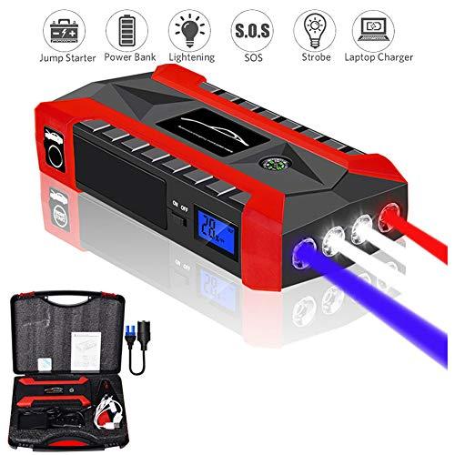 YUNR Night Light Auto Starthilfe 1000A 20000Mah Starthilfe Powerbank Starthilfegerät (Bis Zu 6.0 L Benzin Oder 5.0L Diesel) Mit LED Taschenlampe, QC3.0 Ausgang, Typ C Anschluss