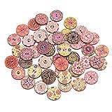 50 botones de madera de pintura mixta para manualidades ing costura ropa botón DIY niños suministros 20 mm/0.8 in, J