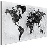 murando Quadro Mappamondo 120x80 cm Stampa su tela in TNT XXL Immagini moderni Murale Fotografia Grafica Decorazione da parete 1 pezzo nero bianco gris k-A-0408-b-a