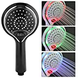 Delaman Shower Head 3 Color LED Digital Temperature Display Handheld Shower Head, Spray Head LED Lights Changes Automatically According to Water Temperature