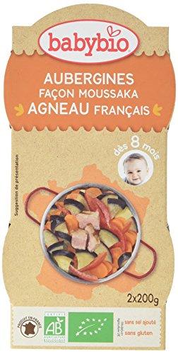 Babybio Bols Aubergines Façon Moussaka Agneau Français 2x200 g - Lot de 6